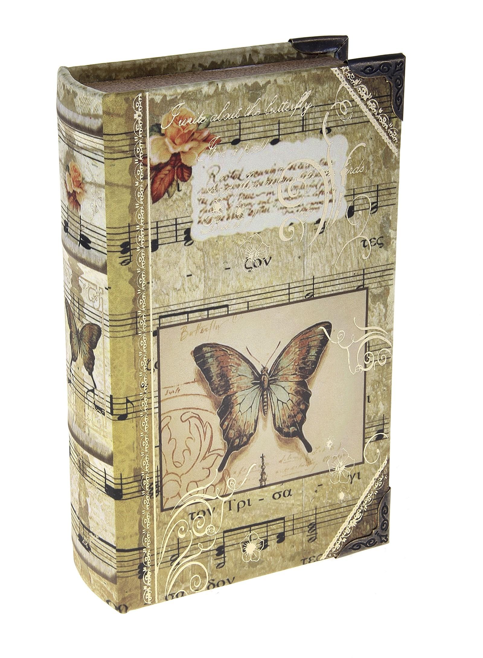 Шкатулка-книга Музыка природы680661Шкатулка-книга Музыка природы изготовлена из дерева. Оригинальное оформление шкатулки, несомненно, привлечет внимание. Шкатулка выполнена в виде книги с изображением бабочки нот, украшена орнаментом. Поверхность шкатулки выполнена из шёлка. Такая шкатулка может использоваться для хранения бижутерии, в качестве украшения интерьера, а также послужит хорошим подарком для человека, ценящего практичные и оригинальные вещицы. Характеристики:Материал: дерево, кожзам, шёлк, металл. Размер шкатулки (в закрытом виде): 21 см х 13 см х 5 см. Размер упаковки: 22 см х 14 см х 6 см. Артикул: 680661.