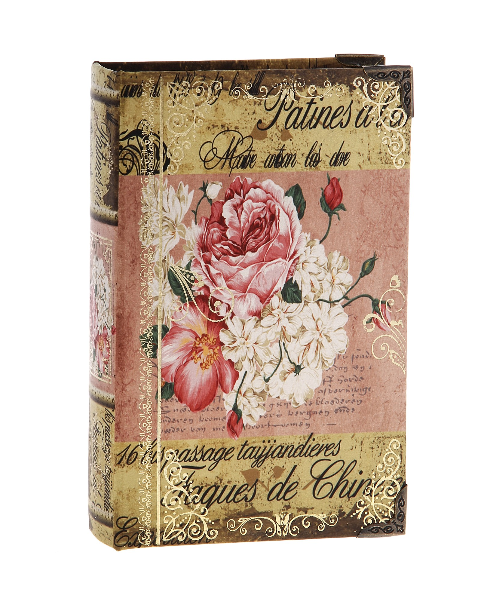 Шкатулка-книга Поэма о цветах680711Оригинальное оформление шкатулки, несомненно, привлечет внимание. Шкатулка выполнена в виде книги, поверхность которой изготовлена из шёлка и оформлена изображением прекрасной цветочной композиции. Такая шкатулка может использоваться для хранения бижутерии, в качестве украшения интерьера, а также послужит хорошим подарком для человека, ценящего практичные и оригинальные вещицы. Характеристики:Материал: дерево, шёлк, металл. Размер шкатулки (в закрытом виде): 24 см х 16 см х 5 см. Размер упаковки: 24,5 см х 16 см х 5 см. Артикул: 680711.