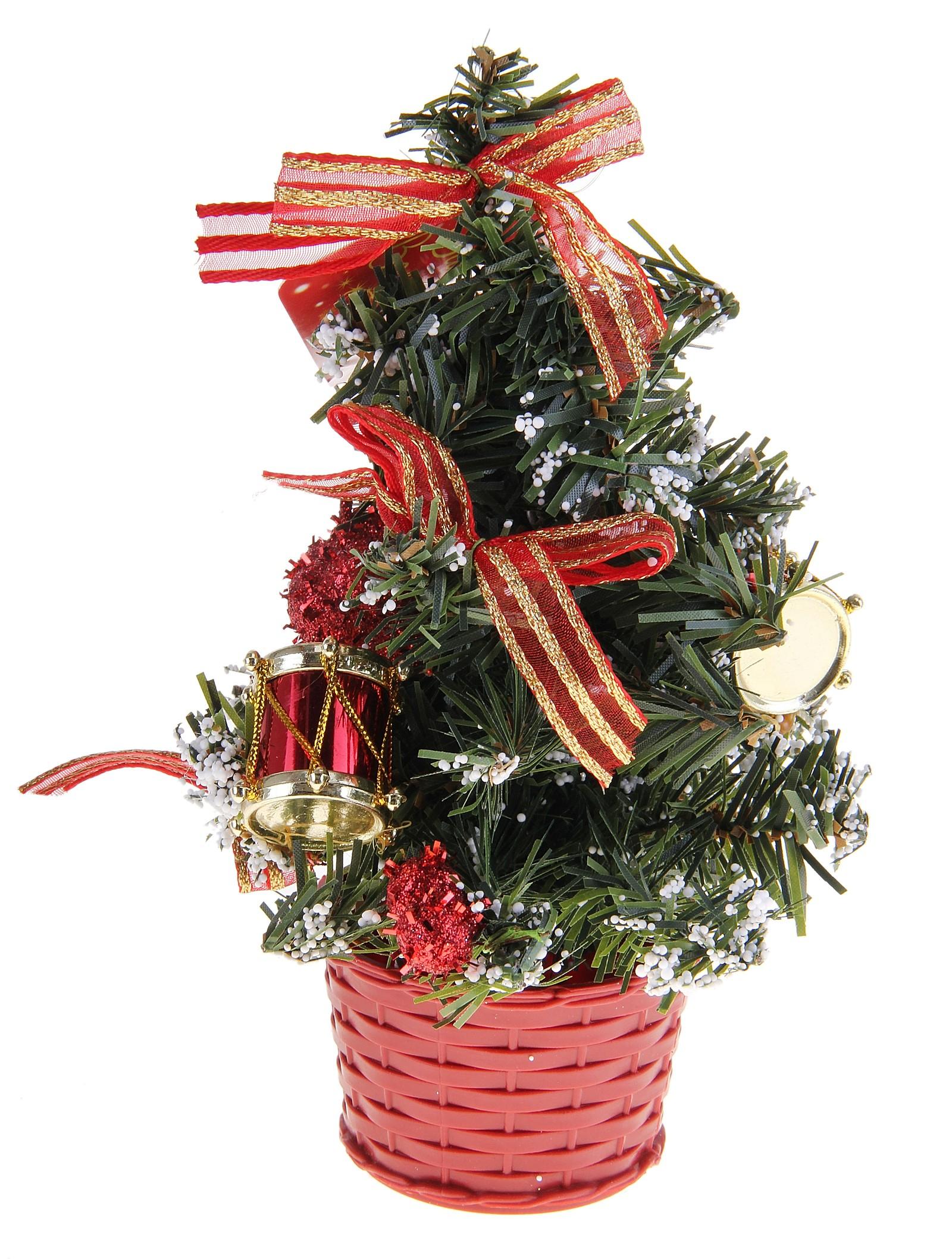 Декоративное украшение Новогодняя елочка, цвет: зеленый, красный, высота 20 см. 717967717967Декоративное украшение, выполненное из пластика - мини-елочка зеленого цвета для оформления интерьера к Новому году. Ее не нужно ни собирать, ни наряжать, зато настроение праздника она создает очень быстро. Елка украшена лентами, барабанами и шариками. Елка украсит интерьер вашего дома или офиса к Новому году и создаст теплую и уютную атмосферу праздника.Откройте для себя удивительный мир сказок и грез. Почувствуйте волшебные минуты ожидания праздника, создайте новогоднее настроение вашим дорогим и близким. Характеристики:Материал: пластик, металл, текстиль. Цвет: зеленый, красный. Размер елочки: 12 см х 12 см х 20 см. Артикул: 717967.