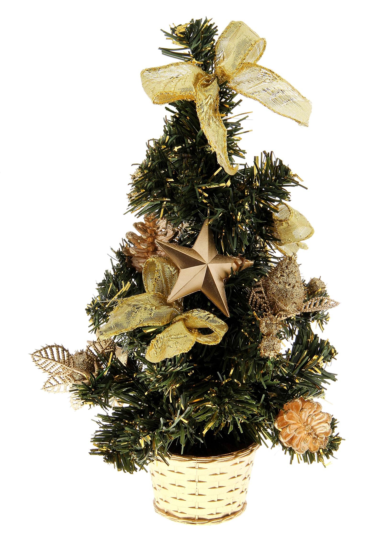 Декоративное украшение Новогодняя елочка. 717970717970Оригинальный дизайн новогодней елки притягивает к себе восторженные взгляды. Елка украшена золотистыми лентами, елочными игрушками, ягодами и шариками. Елка украсит интерьер вашего дома или офиса к Новому году и создаст теплую и уютную атмосферу праздника.Откройте для себя удивительный мир сказок и грез. Почувствуйте волшебные минуты ожидания праздника, создайте новогоднее настроение вашим дорогим и близким. Характеристики: Материал:пластик. Высота елки:30 см. Изготовитель:Китай. Артикул:717970.
