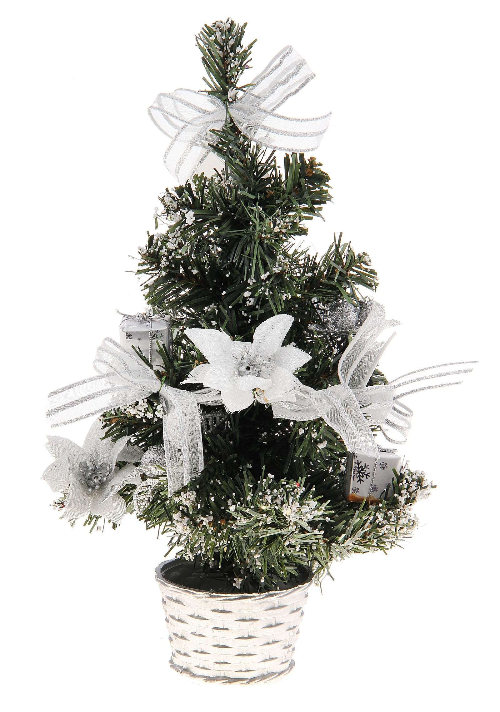 Декоративное украшение Новогодняя елочка. 717971717971Оригинальный дизайн новогодней елки притягивает к себе восторженные взгляды. Елка украшена декоративным снегом, лентами, шариками и цветами. Елка украсит интерьер вашего дома или офиса к Новому году и создаст теплую и уютную атмосферу праздника.Откройте для себя удивительный мир сказок и грез. Почувствуйте волшебные минуты ожидания праздника, создайте новогоднее настроение вашим дорогим и близким. Характеристики: Материал:пластик. Высота елки:30 см. Изготовитель:Китай. Артикул:717971.
