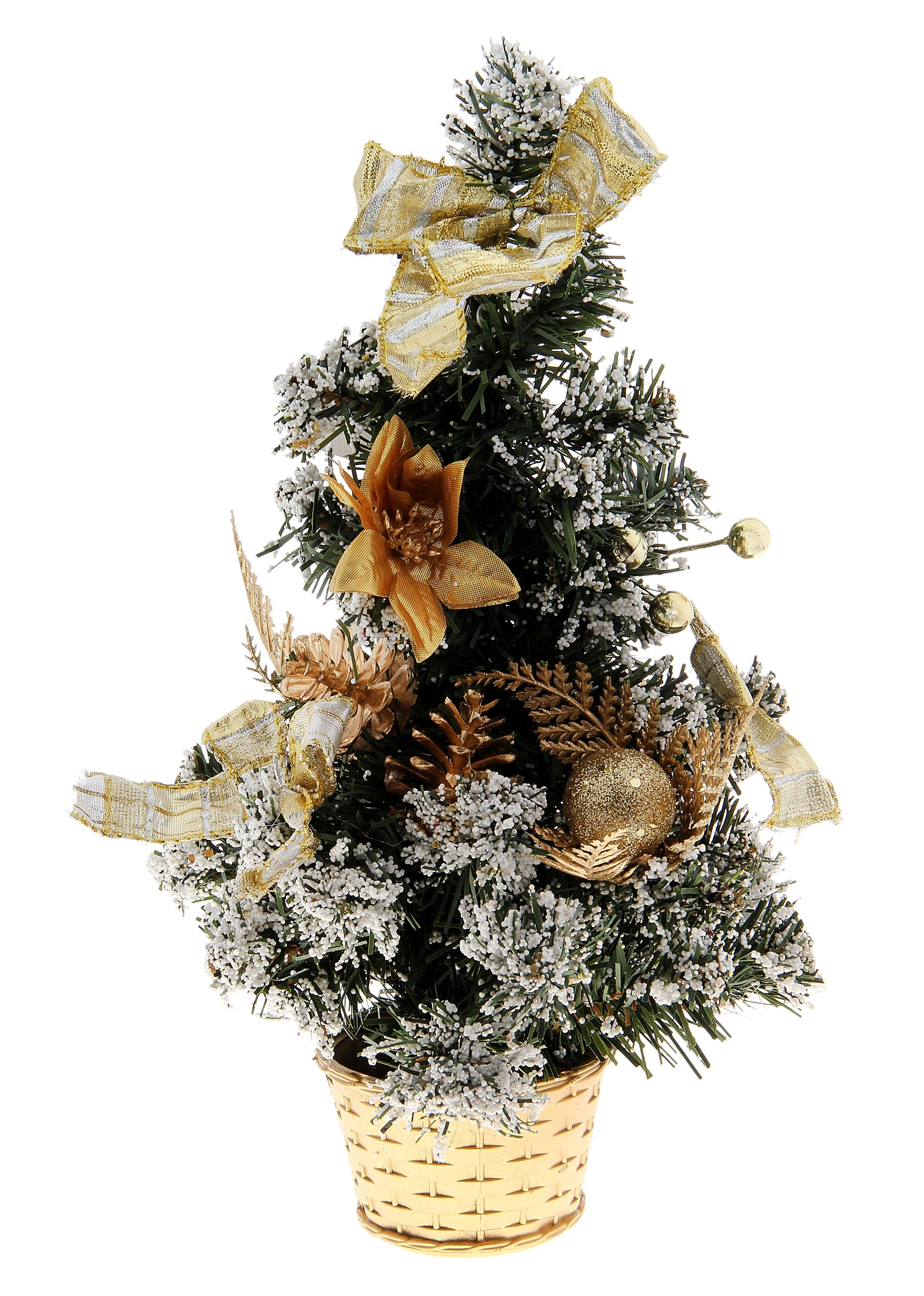 Декоративное украшение Новогодняя елочка, цвет: зеленый, золотистый, высота 30 см. 717974717974Декоративное украшение, выполненное из пластика - мини-елочка зеленого цвета для оформления интерьера к Новому году. Ее не нужно ни собирать, ни наряжать, зато настроение праздника она создает очень быстро. Елка украшена лентами, шишками и шариками. Елка украсит интерьер вашего дома или офиса к Новому году и создаст теплую и уютную атмосферу праздника.Откройте для себя удивительный мир сказок и грез. Почувствуйте волшебные минуты ожидания праздника, создайте новогоднее настроение вашим дорогим и близким. Характеристики:Материал: пластик, металл, текстиль. Цвет: зеленый, золотистый. Размер елочки: 17 см х 17 см х 30 см. Артикул: 717974.