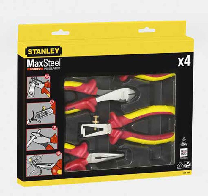 Набор электрика Stanley MaxSteel, 4 предмета4-84-489Набор Staley MaxSteel предназначен специально для электриков. Инструменты имеют изолированные ручки, которые позволяют безопасно работать с проводами под напряжением до 1000 В.Состав набора:Комбинированные плоскогубцы: 16,5 см х 5,5 см х 3 см; Размер ручки: 11 см х 5,5 см х 3 см.Плоскогубцы с удлиненными губками: 16 см х 5,5 см х 3 см; Размер ручки: 9 см х 5,5 см х 3 см.Бокорезы (для цветных металлов и струн): 17,5 см х 5,5 см х 3 см; Размер ручки: 11 см х 5,5 см х 3 см.Пассатижи для зачистки проводов: 17 см х 5,5 см х 3 см; Размер ручки 12 см х 5,5 см х 3 см. Характеристики: Материал: резина, металл. Размеры упаковки: 29,5 см х 22,5 см х 3,5 см.