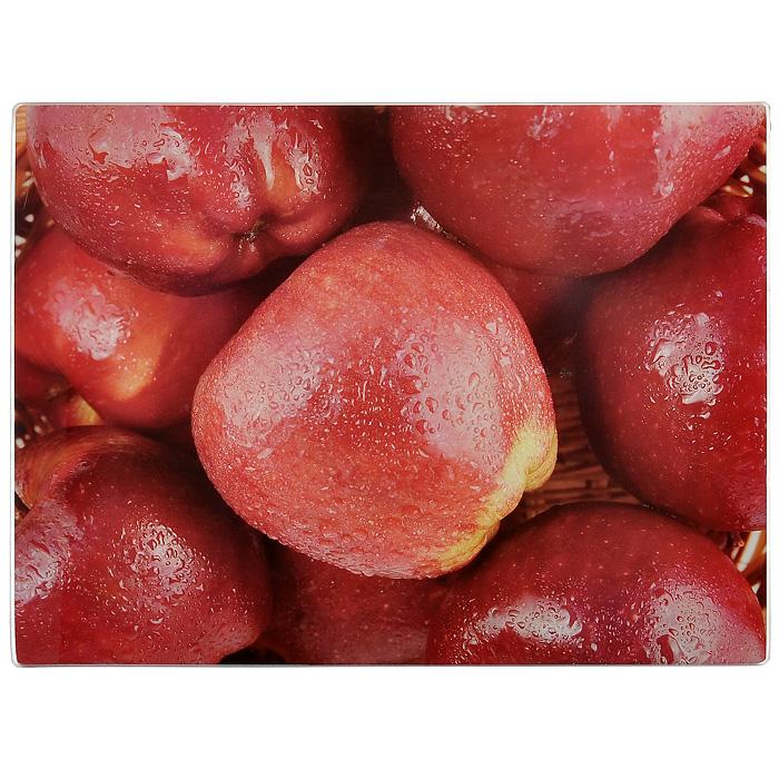 """Разделочная доска Gotoff """"Красные яблоки"""", выполненная из стекла, станет незаменимым атрибутом приготовления пищи. Доска прямоугольной формы оформлена изображением красных яблок с капельками воды. Устойчива к повреждениям и не впитывает запахи. Резиновые ножки не скользят по столу, придавая доске устойчивость. Доску можно использовать как подставку под горячее, так как она выдерживает температуру до 260°C.  Гигиенична и проста в уходе. Моется с использованием обычных моющих средств или в посудомоечной машине.   Главное преимущество стеклянной разделочной доски - дизайн. На стеклянных досках фантазия художников рождает целые шедевры: репродукции картин, натюрморты, пейзажи. Такое разнообразие в дизайне позволяет подобрать подходящую доску для любого интерьера.  Стеклянную доску можно также использовать и для сервировки стола, это делает ее весьма привлекательной для рестораторов. Характеристики:  Материал: стекло, резина. Размер разделочной доски: 30 см х 40 см х 0,4 см. Размер упаковки: 30 см х 40 см х 1 см. Артикул: WTC30403."""