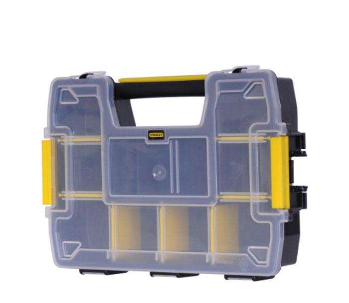 Органайзер пластмассовый Stanley SortMaster, 29 см1-70-720Органайзер Stanley SortMaster предназначен для переноски вещей. Боковые замки позволяют надежно соединять и переносить вместе до 3х органайзеров. Переставные перегородки обеспечивают множество вариантов конфигурации отделений, позволяя организовать хранение мелких деталей и более крупного инструмента. Особая форма крышки предотвращает перемещение мелких предметов из одного отделения в другое. Характеристики: Материал: пластик. Размер органайзера: 29 см х 21 см х 6,3 см. Размер упаковки: 29 см х 21 см х 6,3 см.