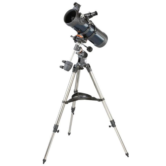 Celestron AstroMaster 114 EQ телескоп-рефлектор НьютонаC31042Телескоп Celestron AstroMaster 114 EQ - это мощный оптический инструмент, обладающий качественной оптикой, надежностью и простотой в эксплуатации. Устройство дает яркие, контрастные изображения тысяч объектов ночного неба, делая занятия астрономией интересными и доступными каждому. Телескоп быстро подготавливается к работе, не требуя инструментов для сборки, и практически не нуждается в техническом обслуживании.Телескопы серии AstroMaster оснащены переработанными искателями StarPointer, упрощающими наведение на цель, быстросъемными приспособлениями типа «ласточкин хвост» для крепления оптической трубы, удобными полочками для аксессуаров и легкими, предварительно собранными стальными треногами. Телескопы имеют ручное управление, позволяющее легко и быстро находить небесные объекты и следить за ними. Интересуют наблюдения наземных объектов? Оптика с прямым изображением идеально подходит для этих целей.