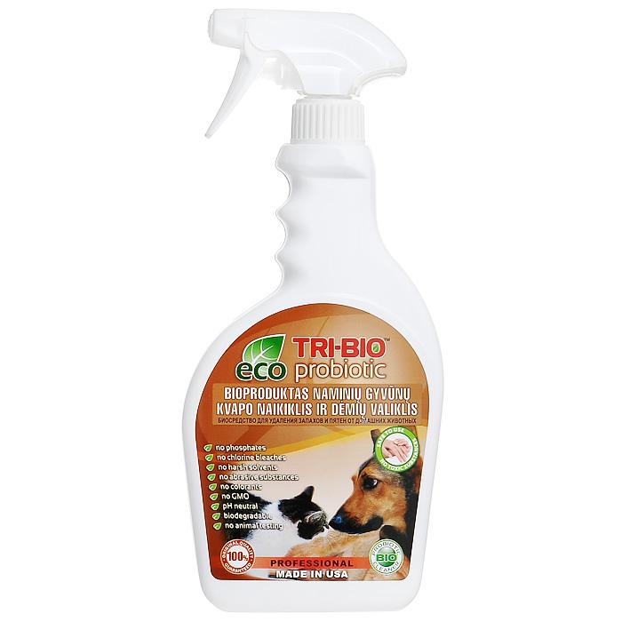 """Биосредство """"Tri-Bio"""" моментально и полностью уничтожает неприятные запахи и пятна мочи, испражнений и других выделений животных с ковров, мягкой мебели, дерева, ламинита и любой другой поверхности. Ликвидирует неприятные запахи, не маскируя их, a устраняя их причину. Абсолютно безопасно для всех типов поверхностей. В отличие от стандартных химических продуктов, легко проникает в швы, позволяет обеспечить более длительный контроль запаха и более глубокую чистку. Абсолютно безвредно для животных!    Особенности биосредства """"Tri-Bio"""" для здоровья:   Без фосфатов, без растворителей, без хлора отбеливающих веществ, без абразивных веществ, без красителей, без токсичных веществ, нейтральный pH. Безопасная альтернатива химическим аналогам. Присвоен сертификат ECO GREEN.    Особенности биосредства """"Tri-Bio"""" для окружающей среды:   Низкий уровень ЛОС, легко биоразлагаемо, минимальное влияние на водные организмы, рециклируемые упаковочные материалы, не испытывалось на животных. Особо рекомендуется использовать в домах с автономной канализацией.    Способ применения:   Хорошо взболтайте средство. Пропитайте средством проблемную зону и оставьте высыхать. Для удаления пятен, потрите влажной щеткой, затем промокните губкой. Для мойки разбавьте 50 мл средства на ведро воды.  Примечание:  Проверьте ткань на цветоустойчивость, нанеся средство на скрытый участок ткани. Характеристики:  Объем:  420 мл. Размер бутылки:  11,5 см х 3,5 см х 26 см. Размер упаковки:  11,5 см х 3,5 см х 26 см. Состав:  Пробиотическое средство содержащее: воду, микроорганизмы (класс 1 """"непатогенные""""), Cocoamidopropylamine Oxide (органический, из кокосового масла), Sodium Xylenesulfonate (органический гидротроп), Sodium Sulfate (органический, минеральные соли), Magnesium chloride (органический, минеральные соли), Sodium nitrate (органический, минеральные соли), Magnesium nitrate (органический, минеральные соли), BHT (органический, антиоксидант), 1,2-propanediol (органический, из морских водорослей), Ароматы, """