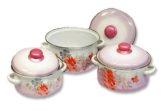 """Набор """"Вдохновение"""" состоит из 3 кастрюль разного объема, выполненных из нержавеющей стали с эмалированным покрытием - наиболее безопасным видом покрытий посуды. Такие кастрюли идеальны для тепловой обработки и хранения пищевых продуктов, приготовления холодных блюд и сервировки стола.  Внутренняя поверхность изделия - белого цвета. Внешние стенки оформлены цветной деколью с изображением цветов.  Кастрюли оснащены удобными стальными ручками и крышками с пластиковыми ручками розового цвета.  Подходят для всех типов плит, включая индукционные. Пригодны для мытья в посудомоечной машине. Характеристики:   Материал: нержавеющая сталь, эмаль, пластик. Цвет: белый, розовый. Комплектация: 3 шт. Объем: 2 л, 3 л, 4 л. Внутренний диаметр кастрюль: 16 см, 18 см, 20 см. Высота стенок: 10,3 см, 11,6 см, 13,1 см. Толщина стенок: 3 мм. Толщина дна: 4 мм. Размер упаковки: 23 см х 23 см х 38 см. Артикул: 7-302/6М."""