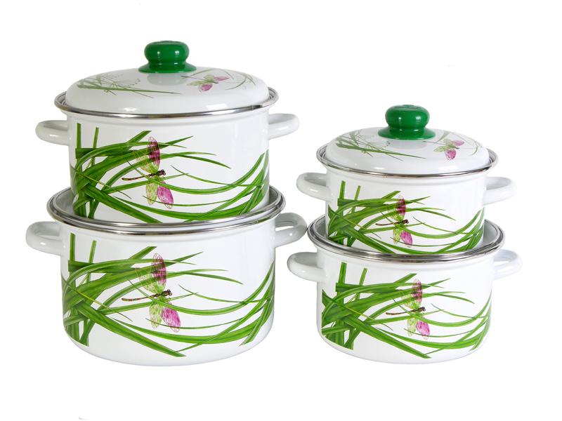 """Набор """"Стрекоза"""" состоит из 4 кастрюль разного объема, выполненных из нержавеющей стали с эмалированным покрытием - наиболее безопасным видом покрытий посуды. Такие кастрюли идеальны для тепловой обработки и хранения пищевых продуктов, приготовления холодных блюд и сервировки стола.  Внутренняя поверхность изделия - белого цвета. Внешние стенки оформлены цветной деколью с изображением стрекозы.  Кастрюли оснащены удобными стальными ручками и крышками с пластиковыми ручками зеленого цвета.  Подходят для всех типов плит, включая индукционные. Пригодны для мытья в посудомоечной машине. Характеристики:   Материал: нержавеющая сталь, эмаль, пластик. Цвет: белый. Комплектация: 4 шт. Объем: 2 л, 3 л, 4 л, 5,5 л. Внутренний диаметр кастрюль: 16 см, 18 см, 20 см, 22 см. Высота стенки: 10,7 см, 12,1 см, 13,7 см, 15,1 см. Толщина стенок: 3 мм. Толщина дна: 4 мм. Размер упаковки: 25 см х 25 см х 42 см. Артикул: 2-421/6М."""