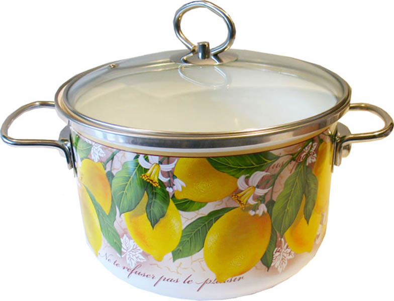 Кастрюля эмалированная Vitross Limon с крышкой, цвет: белый, 4 л8SD205SКастрюля Vitross Limon выполнена из нержавеющей стали со стеклокерамическим покрытием - наиболее безопасным видом покрытий посуды. Стеклокерамика инертна и устойчива к пищевым кислотам, не вступает во взаимодействие с продуктами и не искажает их вкусовые качества. Прочный стальной корпус обеспечивает эффективную тепловую обработку и не деформируется в процессе эксплуатации. Такая кастрюля идеальна для тепловой обработки и хранения пищевых продуктов, приготовления холодных блюд и сервировки стола. Внутренняя поверхность изделия - белого цвета. Внешние стенки оформлены красочным изображением лимонов. Кастрюля имеет принципиально новую фурнитуру: ручки из нержавеющей стали имеют особую форму, что увеличивает безопасность при эксплуатации, стеклянная крышка оснащена металлическим ободом и пароотводом. Подходит для всех типов плит, включая индукционные. Пригодна для мытья в посудомоечной машине. Характеристики: Материал: нержавеющая сталь, эмаль, стекло. Цвет: белый. Объем: 4 л. Диаметр кастрюли: 20 см. Высота стенки: 13,7 см. Толщина стенок: 3 мм. Толщина дна: 4 мм. Размер упаковки: 27 см х 24 см х 16 см. Артикул: 8SD205S.