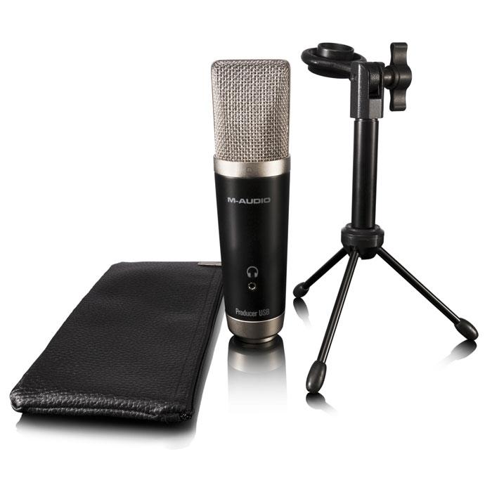 M-Audio Vocal Studio комплект для записи вокалаVocal StudioВокальная студия M-Audio Vocal Studio предлагает USB микрофон студийного качества. Микрофон снабжен большой диафрагмой для захвата тонких элементов вокальных выступлений. Устройство обладает большой кардиоидной капсулой, защищенной сеткой, прочным металлическим корпусом, 1/8-дюймовым стерео выходом, USB-разъемом, 16-битной записью с частотой 44,1 или 48 кГц и многим другим.Прочный металлический корпусСветодиодный индикатор питанияМикширование до 24 треков (16 аудио треков, 8 виртуальных инструментальных треков)Интегрированный инструментарий обучения позволяет легко создавать музыкуВстроенная функция компоновки, включая MIDI секвенсор и Score редакторБолее 100 различных виртуальных инструментовЭффекты: reverb, EQ и гитарный усилитель/дисторшнЗапись одновременно двух инструментовСовместимость: PC (Windows 7 Home Premium, Professional, Ultimate Service Pack 1, Windows 8, Windows 8 Pro), Mac OS X 10.7.5 or 10.8