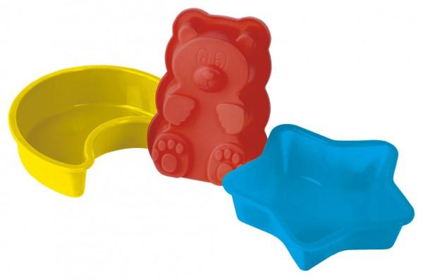 Набор форм для выпечки и заморозки Мишка на севере, 6 предметов93-SI-S-05Набор Мишка на севере состоит из двух силиконовых форм Звезда, двух силиконовых форм Месяц и двух силиконовых форм Медвежонок. Набор предназначен для выпечки оригинальных мини-кексов или для заморозки.Силиконовыеформы для выпечки и заморозки продуктов имеют много преимуществ по сравнению с традиционными металлическими формами и противнями. Они идеально подходят для использования в микроволновых, газовых и электрических печах при температурах до +230°С. В случае заморозки до -40°С.За счет высокой теплопроводности силикона изделия выпекаются заметно быстрее. Благодаря гибкости и антиприлипающим свойствам силикона, готовое изделие легко извлекается из формы. Для этого достаточно отогнуть края и вывернуть форму (выпечке дайте немного остыть, а замороженный продукт лучше вынимать сразу).Силикон абсолютно безвреден для здоровья, не впитывает запахи, не оставляет пятен, не вступает в реакцию с продуктами, легко моется.Походит для использования в микроволновой печи, духовке. Можно мыть в посудомоечной машине. Характеристики:Материал: силикон.Цвет: красный, желтый, голубой.Внешний размер формы Месяц: 12,5 см х 11 см х 3 см.Внешний размер формы Звезда: 11,5 см х 12 см х 3 см.Внешний размер формы Медвежонок: 11,5 см х 8 см х 3 см.Размер упаковки: 20 см х 20 см х 4 см.Артикул: 93-SI-S-05.