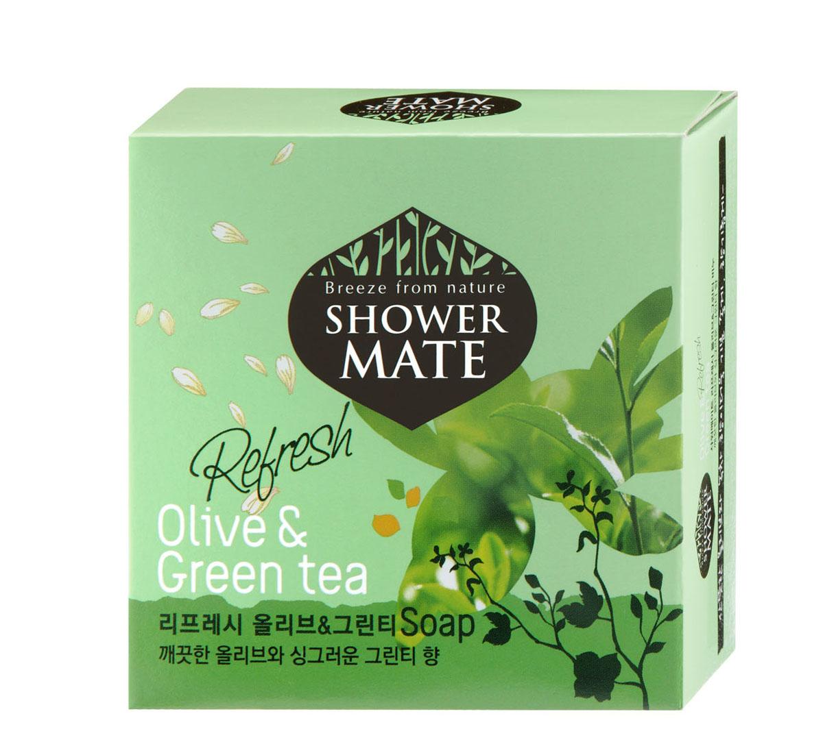 Shower Mate Мыло косметическое Оливки и зеленый чай, 100 г988084Богатый полезными веществами, экстракт оливы увлажняет и создает защитный слой для кожи. Катехины зеленого чаяпредотвращают преждевременное старение кожи, способствуют ее омоложению. Свежий аромат оливы и бодрящий аромат зеленого чая дарят ощущение прохлады и чистоты. Характеристики:Вес: 100 г. Артикул: 988084. Производитель: Корея. Товар сертифицирован.