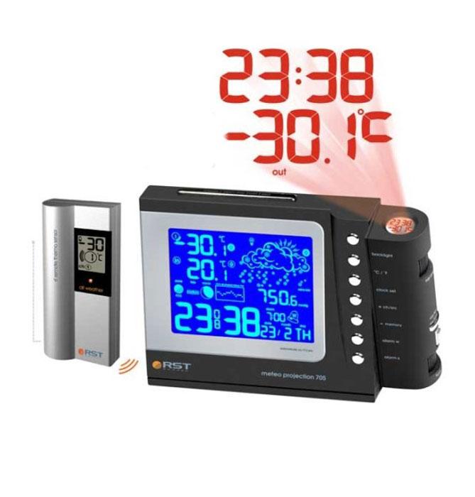RST32705 проекционная погодная станция32705Многофункциональная погодная станция RST32705 измеряет температуру как в помещении, так и за его пределами. Также станция осуществляет проекцию изображения на стену или потолок в тёмное время суток, отображая информацию о температуре и времени.