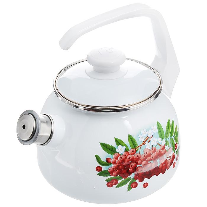 Чайник эмалированный Рябинка, со свистком, 2,5 л27114АП_2711АП10/4 РябинкаЧайник Рябинка выполнен из высококачественной стали и покрыт эмалью белого цвета. Чайник имеет классическую форму, оснащен удобной ручкой. Корпус оформлен изображением ягод рябины.Носик чайника имеет съемный свисток, звуковой сигнал которого подскажет, когда закипит вода.Такой чайник не требует особого ухода и его легко мыть.Благодаря классическому дизайну и удобству в использовании чайник займет достойное место на вашей кухне. Характеристики:Материал: сталь, эмаль, пластик.Цвет: белый.Объем: 2,5 л.Диаметр основания чайника: 17 см.Высота чайника с учетом ручки: 25 см.Размер упаковки: 25 см х 19 см х 19 см.
