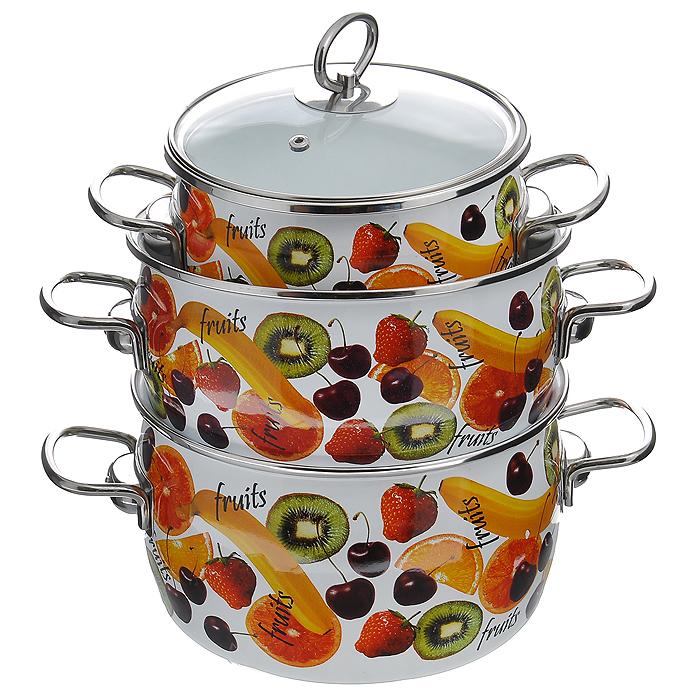 Набор кастрюль Fruits с крышками, 6 предметов. 1DA135S1DA135SНабор эмалированной посуды Fruits состоит из трех кастрюль разного объема с крышками. Посуда выполнена из тонколистового стального проката, покрытого двумя слоями эмали белого цвета. Корпус кастрюль оформлен изображением фруктов. Эмалевое покрытие имеет существенные преимущества по показателям безопасности влияния на организм человека, санитарным свойствам, простоте ухода и рассчитан на длительный срок эксплуатации. Оно устойчиво к перепадам температуры до 220°С, обладает высокой механической прочностью, противостоит воздействию пищевых кислот. Борта корпуса и крышки изделий защищены ободком из антикоррозийной стали. Крышки выполнены из жаропрочного стекла с ручками и ободками из нержавеющей стали, имеют пароотводы. Кастрюли оснащены по бокам эргономичными стальными ручками. Эмалированную посуду нельзя ронять, нагревать без жидкости,допускать замерзания в ней жидкости, чистить металлической мочалкой. Предметы набора пригодны для использования на всех видах плит, включая индукционные. Можно мыть в посудомоечной машине. Характеристики:Материал: сталь, эмаль, стекло. Объем кастрюль: 2 л; 3 л; 4 л. Внутренний диаметр кастрюль: 16 см, 21,5 см, 20 см. Высота стенок кастрюль: 10,5 см, 10 см, 13 см. Толщина стенок кастрюль: 3 мм. Толщина дна кастрюль: 5 мм. Размер упаковки: 41 см х 30 см х 26 см. Артикул: 1DA135S.