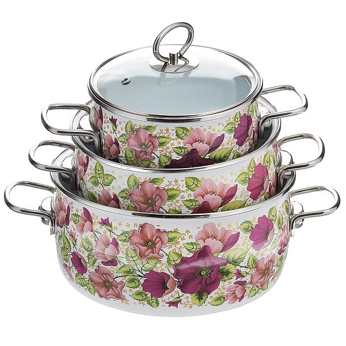 Набор кастрюль Vitross  Violeta  с крышками: 2 л, 4 л, 5 л, цвет: белый. 1DA135S - Посуда для приготовления