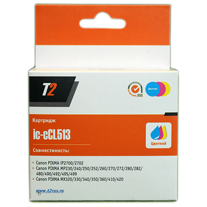 T2 IC-CCL513 картридж для Canon PIXMA iP2700/MP230/240/250/280/480/490/MX320/360/410, цветной