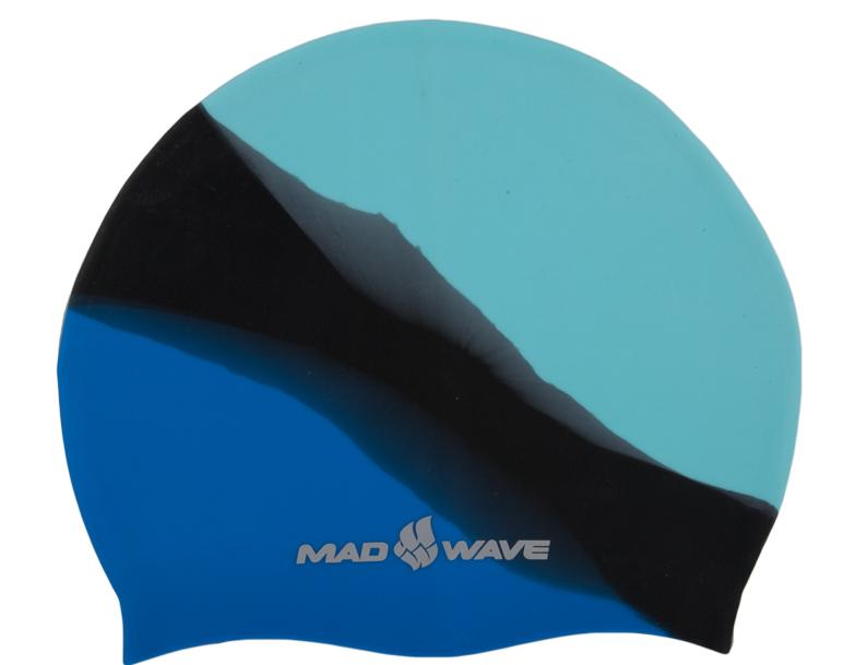 Шапочка для плавания MadWave Multi Big, силиконовая, цвет: бирюзовый, черный, синийM0531 11 2 03WШапочка для плавания MadWave Multi Big классической плоской формы увеличенного размера. Изготовлена из высококачественного силикона устойчивого к воздействию хлорированной воды, что обеспечивает долгий срок использования. Характеристики: Материал: силикон. Размер шапочки: 23 см x 19 см. Производитель: Китай.Артикул: M0531 11 2 03W.