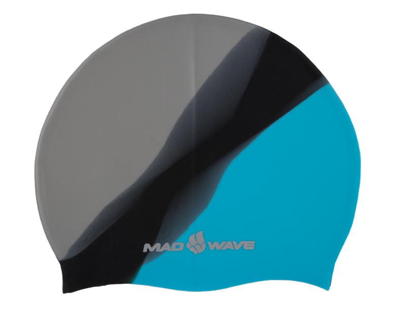 Шапочка для плавания MadWave Multi Big, силиконовая, цвет: серый, черный, голубой сланцы madwave madwave ma991akffh77