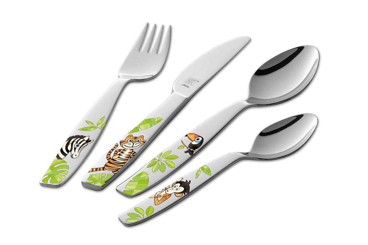 """Детский набор столовых приборов Zwilling Kids """"Джунгли"""" состоит из десертной ложки, ножа, вилки и чайной ложки. Все предметы изготовлены из высококачественной нержавеющей стали 18/10 с зеркальной полировкой. Ручки приборов оформлены цветными изображениями животных джунглей. Качественная полировка и изящество форм изделий притягивают взгляд. Столовые приборы прекрасно подойдут для сервировки детского стола. Дизайн, качество изготовления и многофункциональность в использовании позволяют выделить набор столовых приборов из ряда подобных.  Мыть сразу после использования. Можно мыть в посудомоечной машине. Но рекомендуется мыть вручную во избежание появления царапин на поверхности приборов. Характеристики:Материал: нержавеющая сталь. Длина десертной ложки:  15,5 см. Длина вилки:  15,5 см. Длина ножа:  17 см. Длина чайной ложки:  12,5 см. Размер упаковки:  21 см х 2 см х 15 см. Производитель:  Германия. Изготовитель:  Вьетнам. Артикул: 07135-210. Немецкая компания """"Zwilling J. A. Henckels"""" была основана в 1731 году. При производстве своей продукции компания на протяжении многих лет использует инновационные технологии. В настоящее время компания """"Zwilling J. A. Henckels"""" является эталоном высокого немецкого качества, долговечности и практичности, чем заслужили признание во всем мире."""