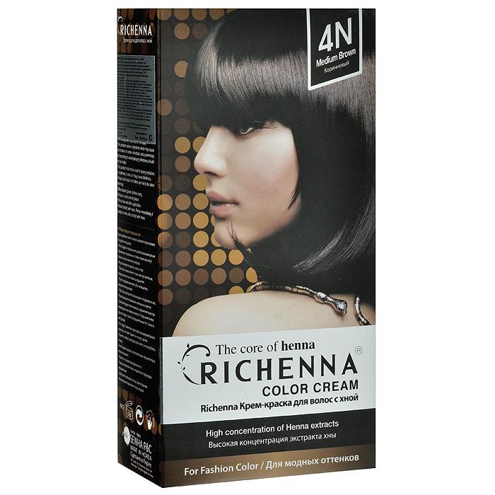 Richenna Крем-краска для волос, с хной, оттенок 4N Коричневый29002Крем-краска для волос Richenna с хной позволяет уменьшить повреждение волос, сделать их эластичными и здоровыми, придать волосам живой цвет и красивый блеск. Не раздражая кожу, крем-краска полностью закрашивает седину и обладает приятным цветочным ароматом. Рекомендуется для безопасного изменения цвета волос, полного окрашивания седых волос и в случае повышенной чувствительности к искусственным компонентам краски для волос. Благодаря кремовой текстуре хорошо наносится и не течет. Время окрашивания 20-30 минут. Упаковка средства в 2-х отдельных тубах позволяет использовать средство несколько раз в зависимости от объема и длины волос. Объем крема-краски 60 г, объем крема-окислителя 60 г, объем шампуня с хной 10 мл, объем кондиционера с хной 7 мл. В комплекте: 1 тюбик с крем-краской, 1 тюбик с крем-окислителем, пакетик с кондиционером, накидка, пластиковая тара, расческа-кисточка для нанесения и распределения крем-краски и инструкция по применению. Товар сертифицирован.