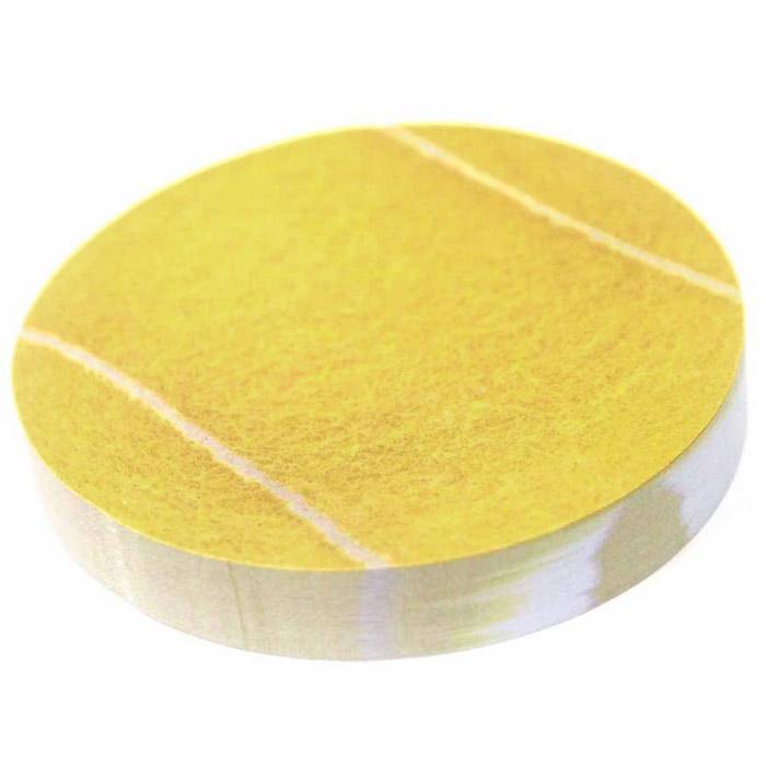 Стикер Теннисный мяч, цвет: желтый. 002514002514Стикер Теннисный мяч представляет собой блок круглых тонированных листов. Края стикеров клеящиеся, что удобно для повседневного использования дома и в офисе. Идеальны для пометок и записей. Характеристики: Материал: бумага. Цвет: желтый. Диаметр стикера: 7 см. Артикул: 002514.