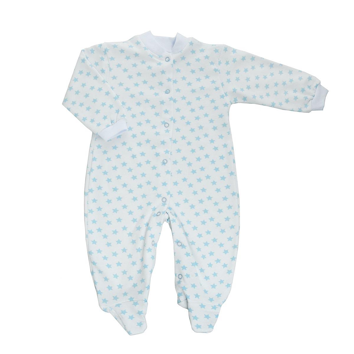 Комбинезон детский Трон-Плюс, цвет: белый, голубой, рисунок звезды. 5821. Размер 68, 6 месяцев5821Детский комбинезон Трон-Плюс - очень удобный и практичный вид одежды для малышей. Теплый комбинезон выполнен из футерованного полотна - натурального хлопка, благодаря чему он необычайно мягкий и приятный на ощупь, не раздражает нежную кожу ребенка, и хорошо вентилируются, а эластичные швы приятны телу малыша и не препятствуют его движениям. Комбинезон с длинными рукавами и закрытыми ножками имеет застежки-кнопки от горловины до щиколоток, которые помогают легко переодеть младенца или сменить подгузник. Рукава понизу дополнены неширокими трикотажными манжетами, мягко облегающими запястья. Вырез горловины дополнен мягкой трикотажной резинкой. Оформлен комбинезон оригинальным принтом. С детским комбинезоном спинка и ножки вашего малыша всегда будут в тепле, он идеален для использования днем и незаменим ночью. Комбинезон полностью соответствует особенностям жизни младенца в ранний период, не стесняя и не ограничивая его в движениях!