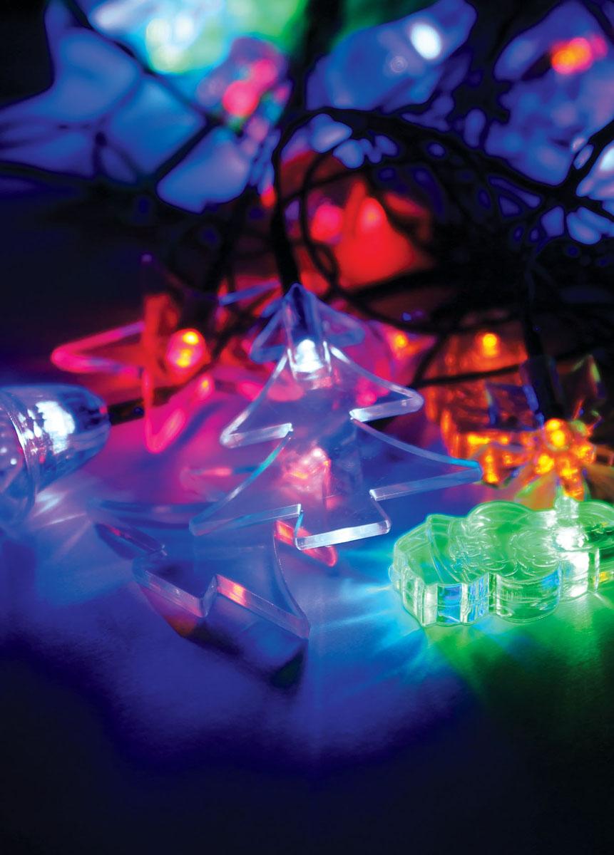 Светодиодная гирлянда Космос Новогодние игрушки, 30 светодиодовKOC_GIR30LEDMIX1_RGBДекоративная гирлянда с прозрачными наскадками микс новогодний: колокольчик, звёздочка,снежинка, ёлочка, снеговик, дед мороз. Характеристики:Материал:пластик. Цвет:мульти. Количество светодиодов: 30 шт. Питание: от сети 230 В. Размер упаковки: 14 см х 8 см х 9 см.