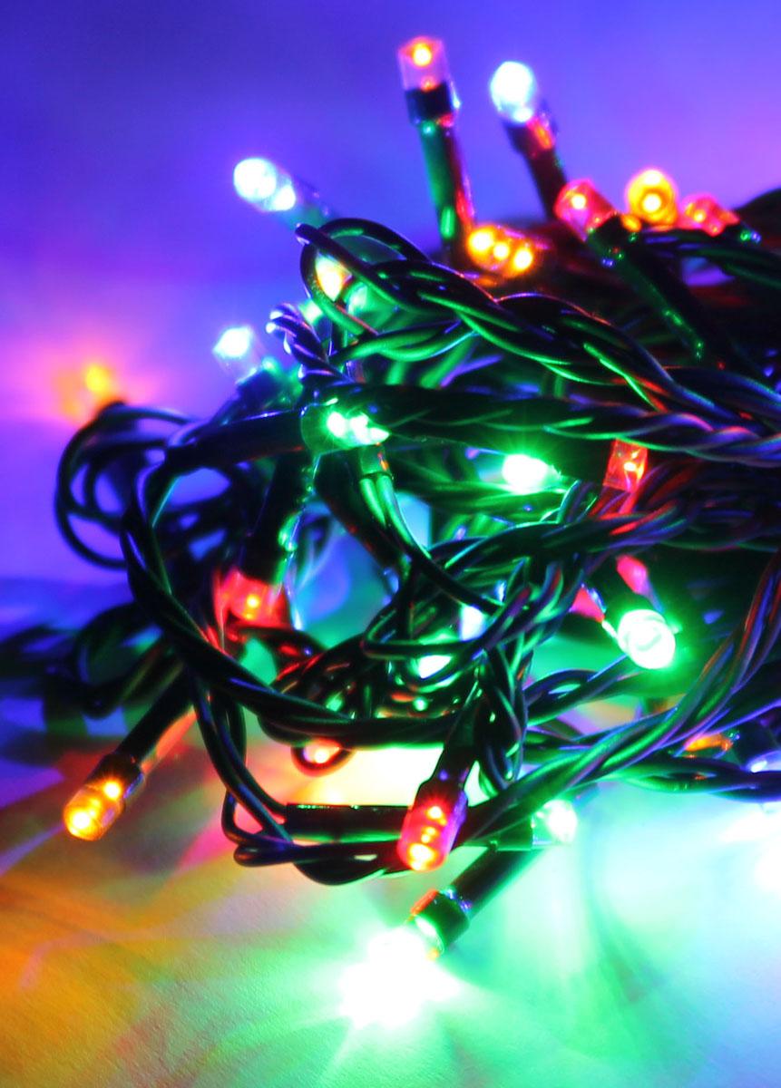 Светодиодная гирлянда Космос Маленькие лампочки, 80 светодиодов, цвет свечения: мультиколор, 8,8 мKOC_GIR80LED_RGBСветодиодная гирлянда Космос Маленькие лампочки с пластиковыми насадками в виде маленьких шариков отлично подойдет для украшения новогодней елки, окна или стены. На гирлянде расположено 80 лампочек. Провод гирлянды зеленого цвета оснащен прямоугольным контролером с кнопкой для переключения восьми режимов. Режимы мигания электрогирлянды: combination (комбинированный); in wales (волна); sequentian (последовательный); slo-glo;chasing/flash (чеканка/вспышка) ; slow fade (медленное затухание);twinkle/flash (мерцание/вспышка); steady on (постоянный). Светодиодная гирлянда Космос Маленькие лампочки создаст праздничную атмосферу и наполнит ваш дом радостью и позитивной энергией. Характеристики:Материал: пластик. Цвет свечения: мультиколор. Количество светодиодов: 80 шт. Длина гирлянды: 8,8 м. Диаметр лампочки: 0,3 см. Режимы мигания: 8. Электропитание (от сети): 230 В. Артикул: KOC_GIR80LED_RGB.