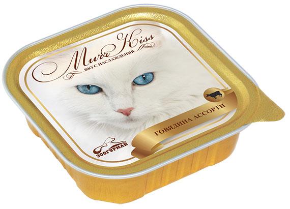 Консервы для кошек Зоогурман Murr Kiss, с говядиной ассорти, 100 г зоогурман консервы для собак зоогурман спецмяс деликатес желудочки куриные 250 г