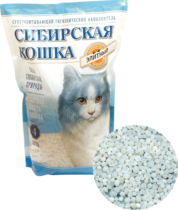 """Наполнитель для кошачьих туалетов Сибирская кошка """"Элитный"""", силикагелевый, 4 л"""