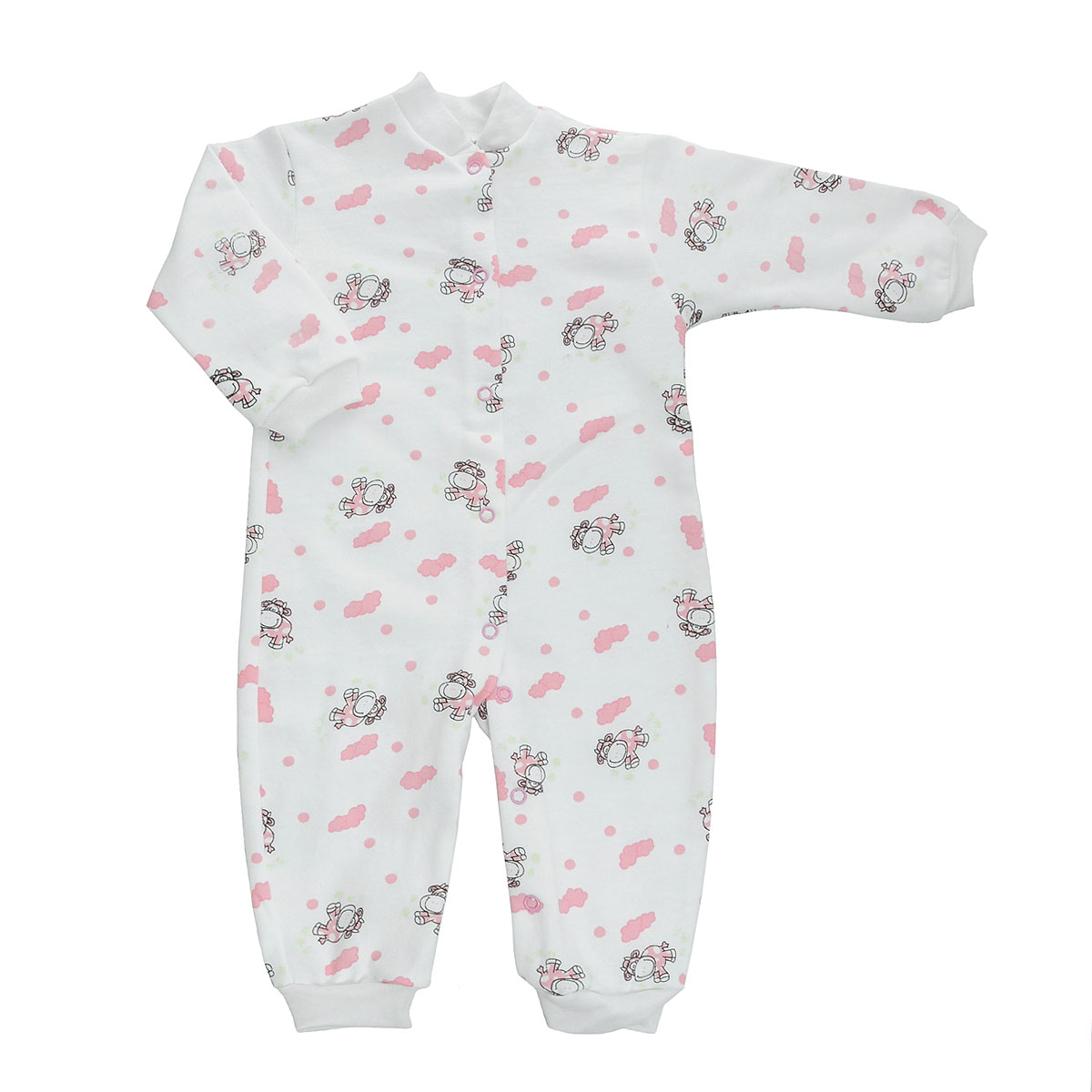Комбинезон детский Трон-Плюс, цвет: белый, розовый, рисунок коровы. 5823. Размер 62, 3 месяца5823Удобный детский комбинезон Трон-плюс послужит идеальным дополнением к гардеробу ребенка. Комбинезон изготовлен из натурального хлопка, благодаря чему он необычайно мягкий и легкий, не раздражает нежную кожу ребенка и хорошо вентилируется, а эластичные швы приятны телу малыша и не препятствуют его движениям. Комбинезон с небольшим воротником-стойкой, длинными рукавами и открытыми ножками имеет застежки-кнопки от горловины до щиколоток, которые помогают легко переодеть младенца или сменить подгузник. Низ рукавов и низ брючин дополнен эластичными широкими манжетами. Комбинезон оформлен ярким принтом с изображением забавных животных.С детским комбинезоном Трон-плюс спинка и ножки вашего ребенка всегда будут в тепле, он идеален для использования днем и незаменим ночью. Комбинезон полностью соответствует особенностям жизни младенца в ранний период, не стесняя и не ограничивая его в движениях!