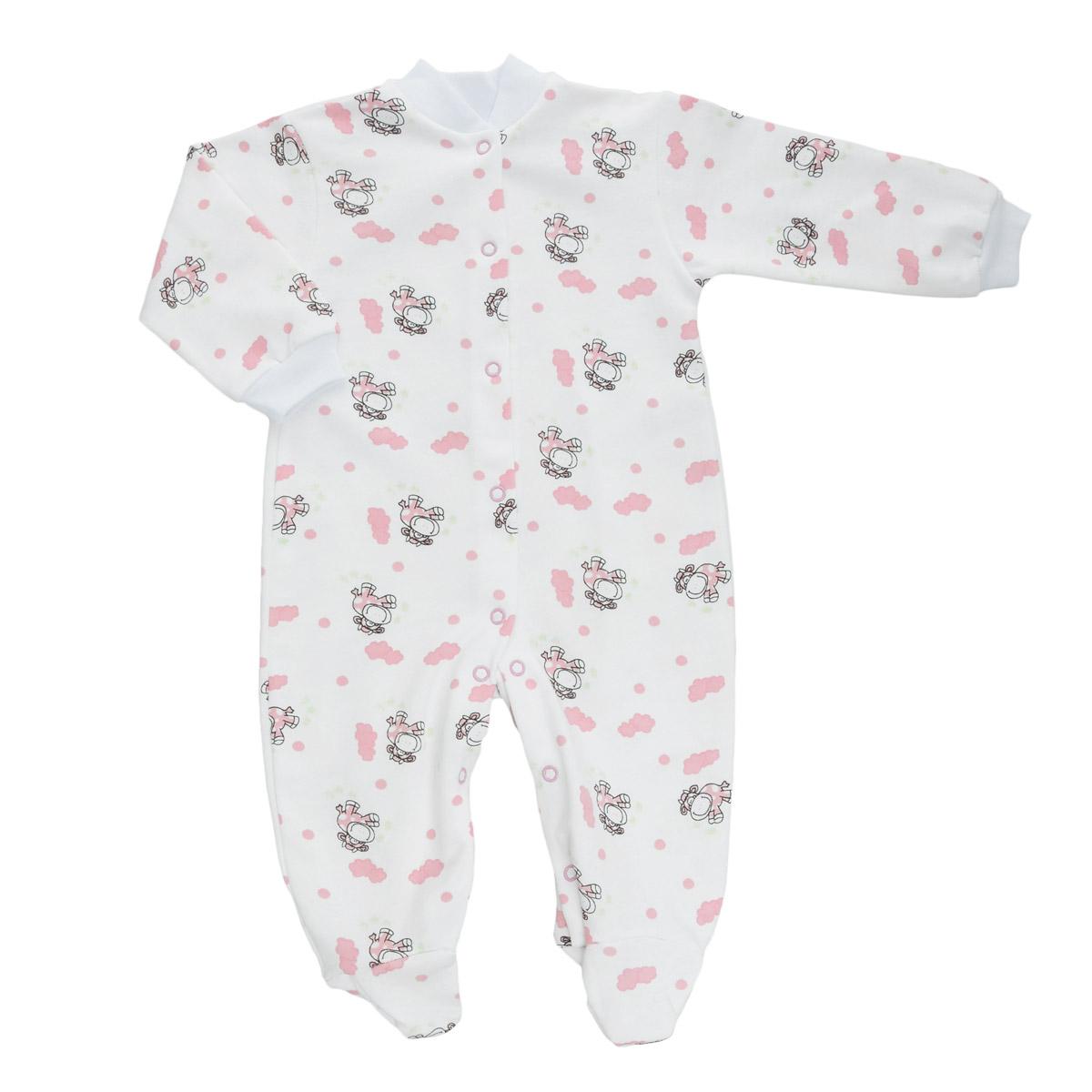 Комбинезон детский Трон-Плюс, цвет: белый, розовый, рисунок коровы. 5821. Размер 74, 9 месяцев5821Детский комбинезон Трон-Плюс - очень удобный и практичный вид одежды для малышей. Теплый комбинезон выполнен из футерованного полотна - натурального хлопка, благодаря чему он необычайно мягкий и приятный на ощупь, не раздражает нежную кожу ребенка, и хорошо вентилируются, а эластичные швы приятны телу малыша и не препятствуют его движениям. Комбинезон с длинными рукавами и закрытыми ножками имеет застежки-кнопки от горловины до щиколоток, которые помогают легко переодеть младенца или сменить подгузник. Рукава понизу дополнены неширокими трикотажными манжетами, мягко облегающими запястья. Вырез горловины дополнен мягкой трикотажной резинкой. Оформлен комбинезон оригинальным принтом. С детским комбинезоном спинка и ножки вашего малыша всегда будут в тепле, он идеален для использования днем и незаменим ночью. Комбинезон полностью соответствует особенностям жизни младенца в ранний период, не стесняя и не ограничивая его в движениях!