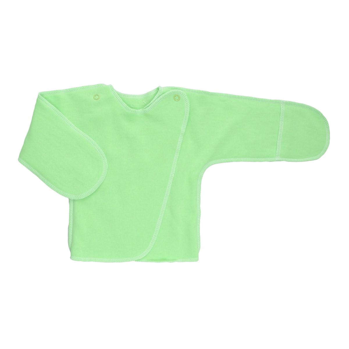 Распашонка Трон-Плюс, цвет: светло-зеленый. 5023 . Размер 50, 0-1 месяц5023Распашонка с закрытыми ручками Трон-плюс послужит идеальным дополнением к гардеробу младенца. Распашонка, выполненная швами наружу, изготовлена из футера - натурального плотного хлопка, благодаря чему она необычайно мягкая, легкая и теплая, не раздражает нежную кожу ребенка и хорошо вентилируется, а эластичные швы приятны телу младенца и не препятствуют его движениям. Распашонка с запахом, застегивается при помощи двух кнопок на плечах, которые позволяют без труда переодеть ребенка. Благодаря рукавичкам ребенок не поцарапает себя.