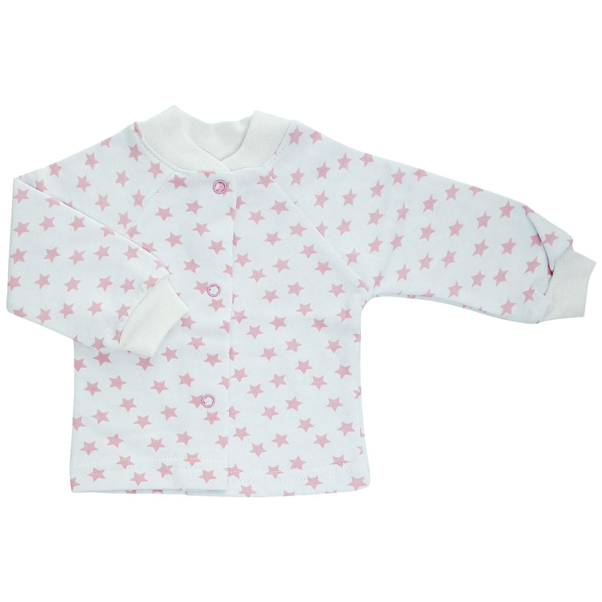 Кофточка детская Трон-Плюс, цвет: белый, розовый, рисунок звезды. 5174. Размер 56, 1 месяц5174Кофточка для новорожденного Трон-плюс с длинными рукавами и небольшим воротничком-стоечкой послужит идеальным дополнением к гардеробу вашего ребенка, обеспечивая ему наибольший комфорт. Изготовленная из футера - натурального хлопка, она необычайно мягкая и легкая и теплая, не раздражает нежную кожу ребенка и хорошо вентилируется, а эластичные швы приятны телу малыша и не препятствуют его движениям. Удобные застежки-кнопки по всей длине помогают легко переодеть младенца. Рукава-реглан понизу дополнены трикотажными манжетами, не пережимающими ручку. Воротничок дополнен эластичной трикотажной резинкой. Кофточка полностью соответствует особенностям жизни ребенка в ранний период, не стесняя и не ограничивая его в движениях.