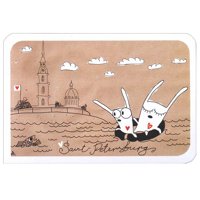 Открытка Saint Petersburg. Ручная авторская работа. SPB006SPB006Авторская открытка Saint Petersburg станет необычным и ярким дополнением к подарку близкому человеку. Открытка оформлена изображением двух забавных зайцев, плывущих по Неве в спасательном круге. Обратная сторона открытки не содержит текста, что позволит вам самостоятельно написать самые теплые и искренние пожелания.К открытке прилагается конверт. Характеристики:Материал: бумага. Размер: 15 см х 10 см. Артикул: SPB006.