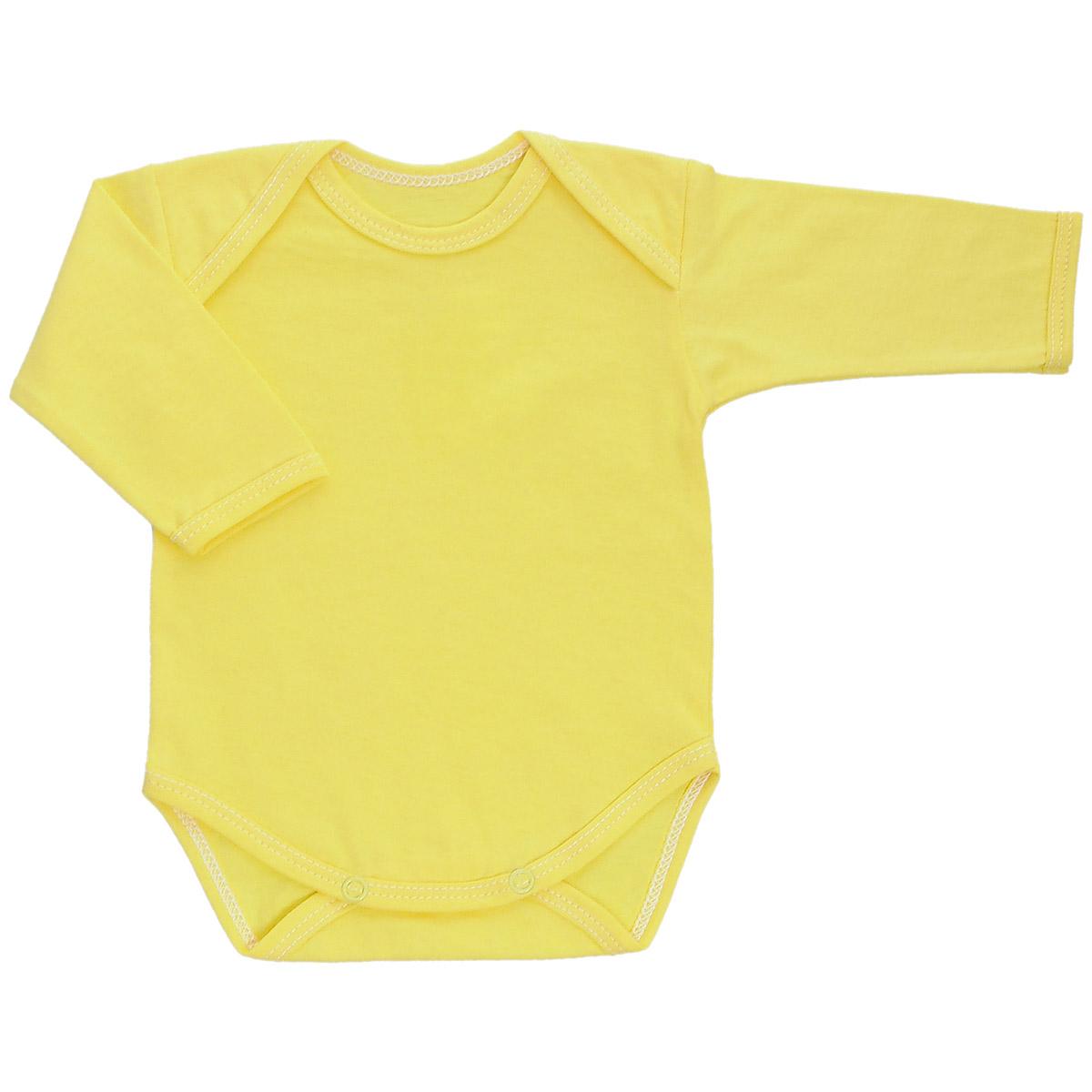 Боди детское Трон-Плюс, цвет: желтый. 5861. Размер 80, 12 месяцев5861Детское боди Трон-плюс с длинными рукавами послужит идеальным дополнением к гардеробу вашего ребенка, обеспечивая ему наибольший комфорт. Боди изготовлено из кулирного полотна -натурального хлопка, благодаря чему оно необычайно мягкое и легкое, не раздражает нежную кожу ребенка и хорошо вентилируется, а эластичные швы приятны телу младенца и не препятствуют его движениям. Удобные запахи на плечах и кнопки на ластовице помогают легко переодеть младенца или сменить подгузник. Боди полностью соответствует особенностям жизни ребенка в ранний период, не стесняя и не ограничивая его в движениях. В нем ваш ребенок всегда будет в центре внимания.