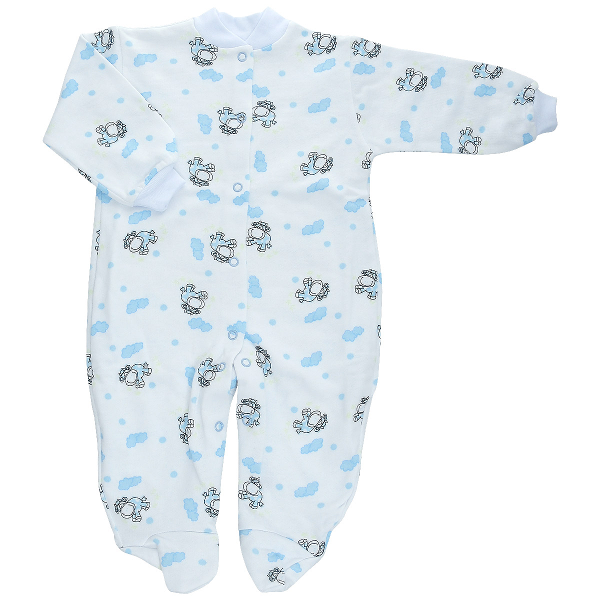 Комбинезон детский Трон-Плюс, цвет: белый, голубой, рисунок коровы. 5821. Размер 62, 3 месяца5821Детский комбинезон Трон-Плюс - очень удобный и практичный вид одежды для малышей. Теплый комбинезон выполнен из футерованного полотна - натурального хлопка, благодаря чему он необычайно мягкий и приятный на ощупь, не раздражает нежную кожу ребенка, и хорошо вентилируются, а эластичные швы приятны телу малыша и не препятствуют его движениям. Комбинезон с длинными рукавами и закрытыми ножками имеет застежки-кнопки от горловины до щиколоток, которые помогают легко переодеть младенца или сменить подгузник. Рукава понизу дополнены неширокими трикотажными манжетами, мягко облегающими запястья. Вырез горловины дополнен мягкой трикотажной резинкой. Оформлен комбинезон оригинальным принтом. С детским комбинезоном спинка и ножки вашего малыша всегда будут в тепле, он идеален для использования днем и незаменим ночью. Комбинезон полностью соответствует особенностям жизни младенца в ранний период, не стесняя и не ограничивая его в движениях!