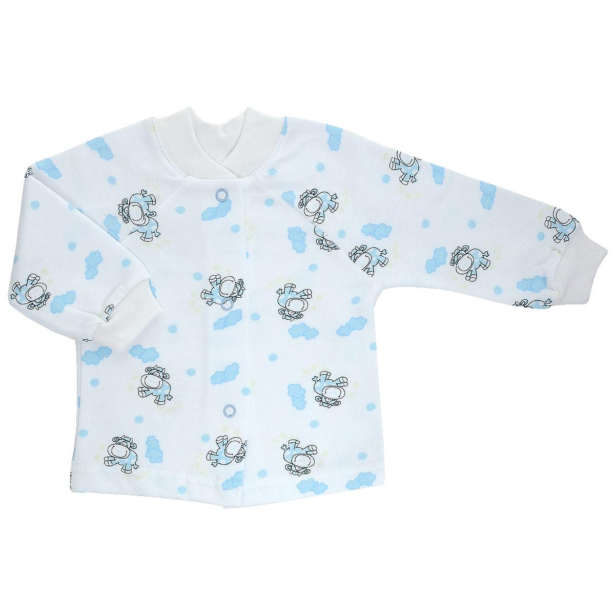 Кофточка детская Трон-Плюс, цвет: белый, голубой, рисунок коровы. 5174. Размер 62, 3 месяца5174Кофточка для новорожденного Трон-плюс с длинными рукавами и небольшим воротничком-стоечкой послужит идеальным дополнением к гардеробу вашего ребенка, обеспечивая ему наибольший комфорт. Изготовленная из футера - натурального хлопка, она необычайно мягкая и легкая и теплая, не раздражает нежную кожу ребенка и хорошо вентилируется, а эластичные швы приятны телу малыша и не препятствуют его движениям. Удобные застежки-кнопки по всей длине помогают легко переодеть младенца. Рукава-реглан понизу дополнены трикотажными манжетами, не пережимающими ручку. Воротничок дополнен эластичной трикотажной резинкой. Кофточка полностью соответствует особенностям жизни ребенка в ранний период, не стесняя и не ограничивая его в движениях.