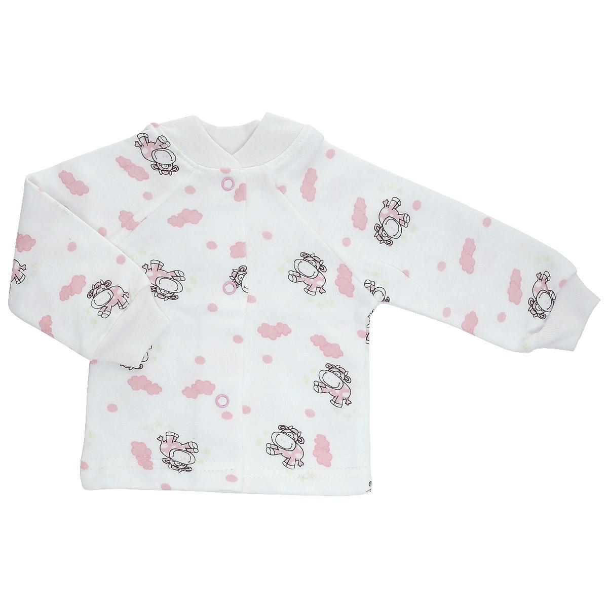 Кофточка детская Трон-Плюс, цвет: белый, розовый, рисунок коровы. 5174. Размер 86, 18 месяцев5174Кофточка для новорожденного Трон-плюс с длинными рукавами и небольшим воротничком-стоечкой послужит идеальным дополнением к гардеробу вашего ребенка, обеспечивая ему наибольший комфорт. Изготовленная из футера - натурального хлопка, она необычайно мягкая и легкая и теплая, не раздражает нежную кожу ребенка и хорошо вентилируется, а эластичные швы приятны телу малыша и не препятствуют его движениям. Удобные застежки-кнопки по всей длине помогают легко переодеть младенца. Рукава-реглан понизу дополнены трикотажными манжетами, не пережимающими ручку. Воротничок дополнен эластичной трикотажной резинкой. Кофточка полностью соответствует особенностям жизни ребенка в ранний период, не стесняя и не ограничивая его в движениях.