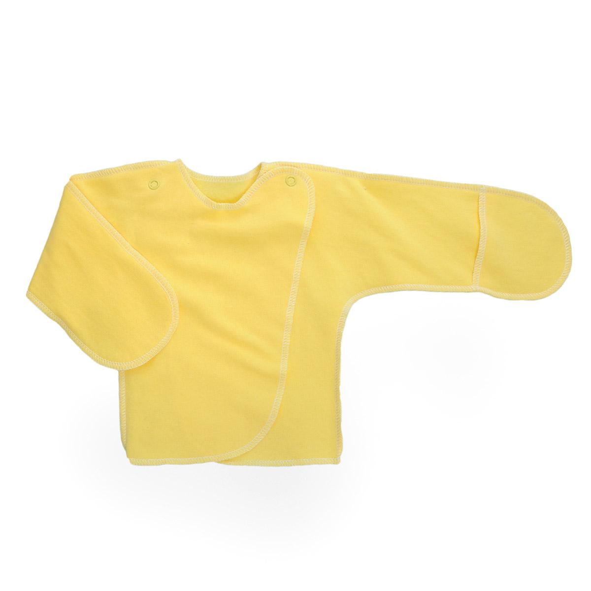 Распашонка Трон-Плюс, цвет: желтый. 5023. Размер 50, 0-1 месяц5023Распашонка с закрытыми ручками Трон-плюс послужит идеальным дополнением к гардеробу младенца. Распашонка, выполненная швами наружу, изготовлена из футера - натурального плотного хлопка, благодаря чему она необычайно мягкая, легкая и теплая, не раздражает нежную кожу ребенка и хорошо вентилируется, а эластичные швы приятны телу младенца и не препятствуют его движениям. Распашонка с запахом, застегивается при помощи двух кнопок на плечах, которые позволяют без труда переодеть ребенка. Благодаря рукавичкам ребенок не поцарапает себя.
