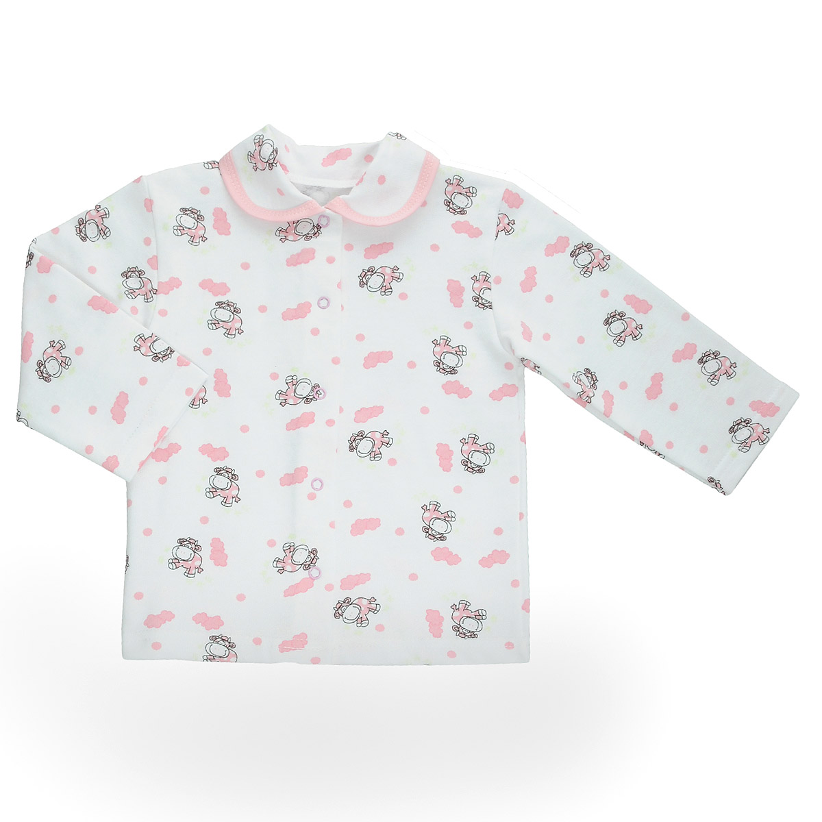 Кофточка детская Трон-Плюс, цвет: белый, розовый, рисунок коровы. 5175. Размер 86, 18 месяцев5175Кофточка для новорожденного Трон-плюс с длинными рукавами послужит идеальным дополнением к гардеробу вашего малыша, обеспечивая ему наибольший комфорт. Изготовленная из футерованного полотна - натурального хлопка, она необычайно мягкая и легкая, не раздражает нежную кожу ребенка и хорошо вентилируется, а эластичные швы приятны телу малыша и не препятствуют его движениям. Удобные застежки-кнопки по всей длине помогают легко переодеть младенца. Модель дополнена отложным воротником.Кофточка полностью соответствует особенностям жизни ребенка в ранний период, не стесняя и не ограничивая его в движениях.