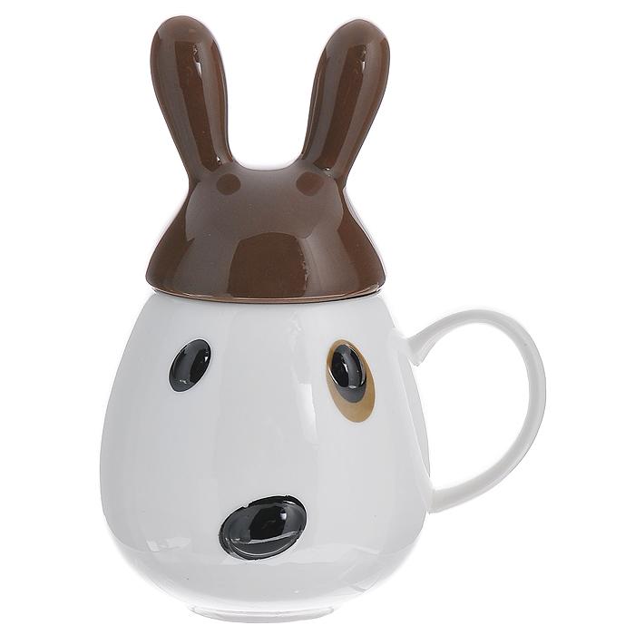 """Кружка """"Кролик"""", с крышкой, цвет: белый, коричневый"""