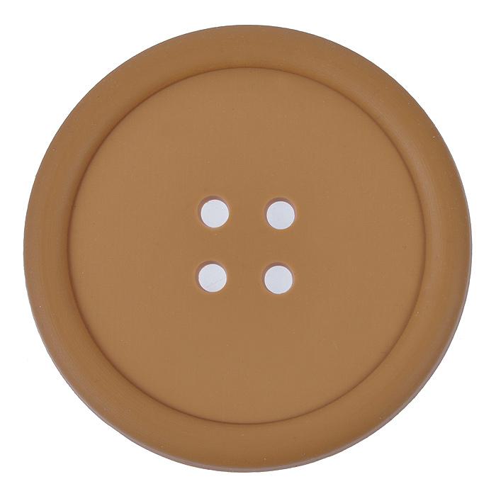 Подставка под кружку Пуговица, цвет: коричневый, диаметр 9 см подставки под телевизоры