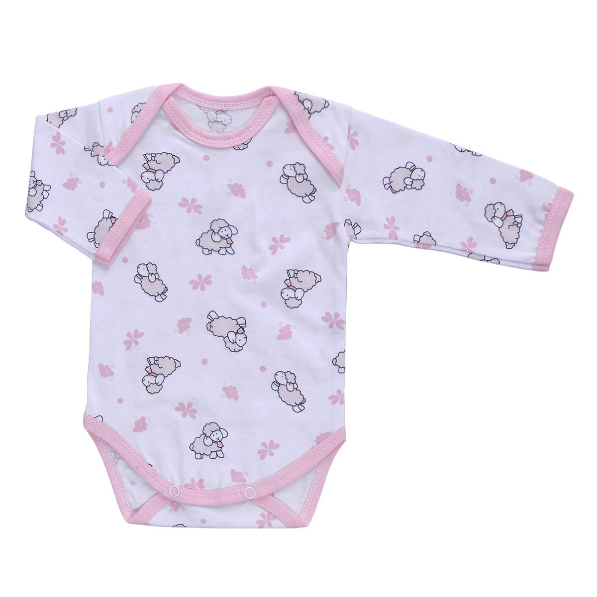 Боди детское Трон-Плюс, цвет: белый, розовый, рисунок барашки. 5861. Размер 74, 9 месяцев5861Детское боди Трон-плюс с длинными рукавами послужит идеальным дополнением к гардеробу вашего ребенка, обеспечивая ему наибольший комфорт. Боди изготовлено из кулирного полотна -натурального хлопка, благодаря чему оно необычайно мягкое и легкое, не раздражает нежную кожу ребенка и хорошо вентилируется, а эластичные швы приятны телу младенца и не препятствуют его движениям. Удобные запахи на плечах и кнопки на ластовице помогают легко переодеть младенца или сменить подгузник. Боди полностью соответствует особенностям жизни ребенка в ранний период, не стесняя и не ограничивая его в движениях. В нем ваш ребенок всегда будет в центре внимания.