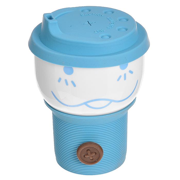"""Стакан """"Smile Cup"""", с силиконовым подстаканником и крышкой, цвет: белый, голубой"""