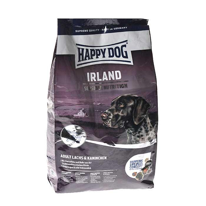 Сухой корм Happy Dog Supreme. Irland для взрослых собак, с лососем и кроликом, 4 кг00000000039Сухой корм Happy Dog Supreme. Irland - бережно приготовленный, очень вкусный полнорационный корм для всех лакомок. Он содержит вкусное мясо лосося и кролика с добавлением легкоусвояемого овса и картофеля, а также уникальный Happy Dog Life Plus Concept.Сухой корм Happy Dog Supreme. Irland предлагает уникальную возможность всем, кто ищет нечто особенное или вынужден подбирать корм в соответствии с особыми потребностями собаки в питании.Уникальный Happy Dog Supreme. Irland из натуральных ингредиентов, польза которых известна веками, дополняет эту рецептуру сухого корма суперпремиум класса. Вследствие использования особых ингредиентов (без ягненка, птицы, риса, сои и кукурузы), особенных технологических процессов и содержания белка минимум 21% , корм отлично подходит для кормления чувствительных собак с учетом их особых потребностей. Характеристики:Ингредиенты: ячмень, лосось (11%), кролик (10%), мука из цельных зерен овса (10%), картофельная мука (4,5%), птичий жир, гидролизат печени, фосфат кальция, свекольная пульпа, яблочная пульпа (1%), хлорид натрия, дрожжи (сухие), хлорид калия, цельный яичный порошок, ячмень (ферментированный (0,2%), морские водоросли (0,2%), льняное семя (0,2%), мясо моллюска (сушеное) (0,05%), юкка шидигера, артишок, одуванчик, имбирь, березовый лист, крапива, шалфей, кориандр, розмарин, тимьян, корень солодки, ромашка, таволга, черемша. (Всего трав 0,14%). Состав: сырой протеин - 21,0%, сырой жир - 10,0%, сырая клетчатка - 3,0%, сырая зола - 6,5%, кальций - 1,1%, фосфор - 0,85%, натрий - 0,45%, калий - 0,55%. Добавки на 1 кг: Витамин А - 12000 МЕ, Витамин Д3 - 1200 МЕ, антиоксиданты, природные экстракты с высоким содержанием токоферола, железо (сульфат железа II) - 110 мг, медь (сульфат меди II) - 10 мг, цинк (оксид цинка, аминокислотный хелат цинка) - 135 мг, марганец - 25 мг, йод- 2 мг, селен - 0,15 мг, кобальт - 0,1 мг. Вес: 4 кг. Товар сертифицир