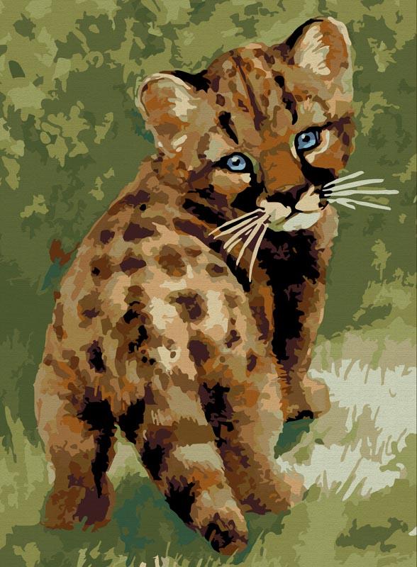 "Живопись на холсте ""Детеныш леопарда"", 30 х 40 см, Белоснежка"