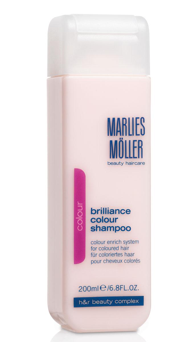 Marlies Moller Шампунь Brilliance Colour, для окрашенных волос, 200 мл21011MMШампунь с очень мягкой нежной текстурой, с перламутрово-розовым сиянием для очищения волос и кожи головы. Сохраняет цвет на долгое время. Защищает волосы от повреждения УФ-лучами. Успокаивает кожу головы, усиливает корни волос, препятствует ослаблению седых волос. Премиальный уход с профессиональным эффектом. Высокая концентрация активных компонентов. Мягкое средство без силиконов, позволяет частое применение.В зависимости от длины волос возьмите небольшое количество шампуня (размером с 1-2 лесных ореха) и вспеньте его в ладонях. Легкими круговыми массажными движениями нанесите шампунь, расположив одну руку спереди, другую - на затылке. Повторите массажные движения столько раз, сколько Вам нравится. Тщательно ополосните голову.